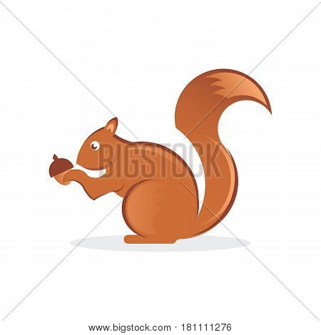 Squirrel with nut illustration that can be used for a logo or as isolated graphic element