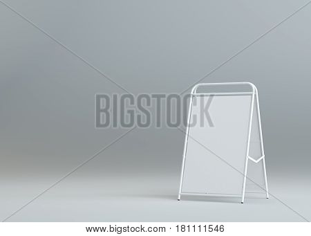 Blank white street stand on gray background. Outdoor mock up board. 3d rendering. Template for your design