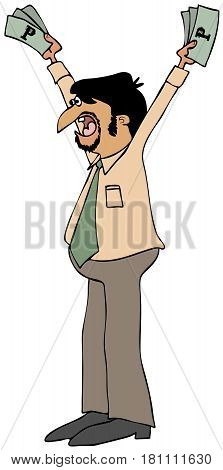 Illustration of a Latino businessman holding up currency.