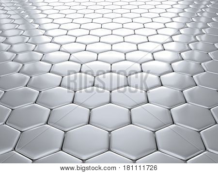 3d illustration of metal hexagonal honeycombs nano silver shiny background