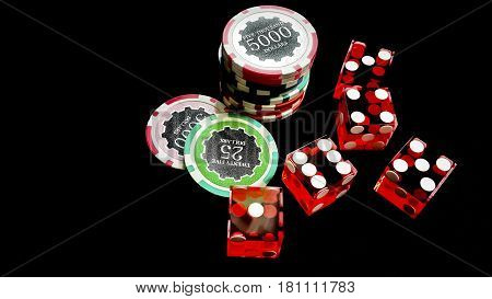 Five red dice and stacked of chips bet many value on black fabric and copy space Gambling devices and casino business concept