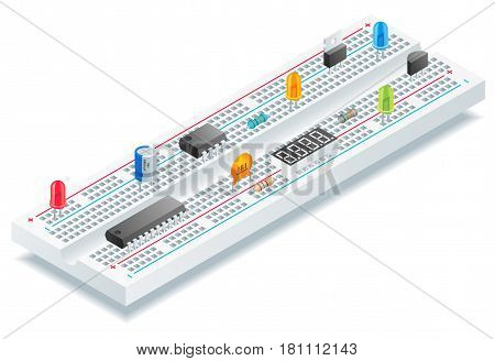 Isometric breadboard with electronic components vector illustration.