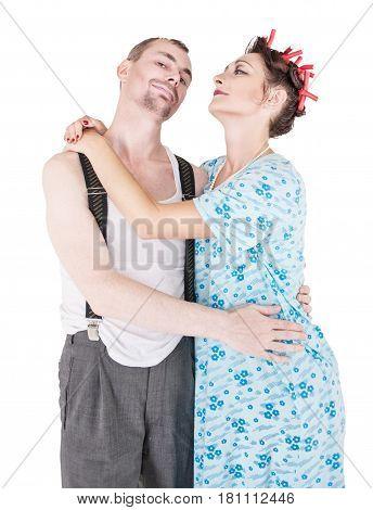 Funny Happy Family Couple Isolated