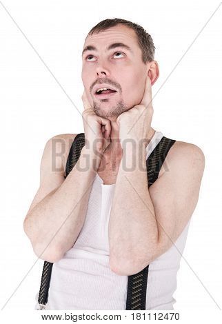 Funny man covering ears by his fingers isolated on white