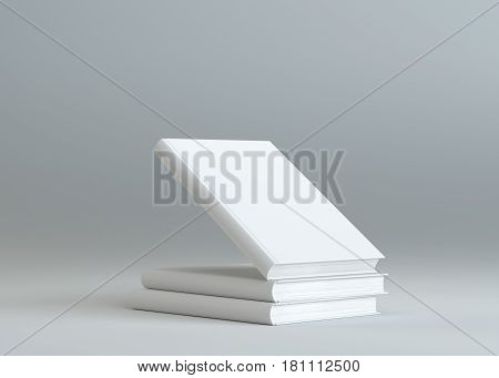 Hardcover Books Mock-Up. Gray Background. Template For Design. 3D Illustration