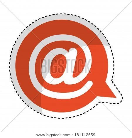 speech bubble with arroba symbol isolated icon vector illustration design