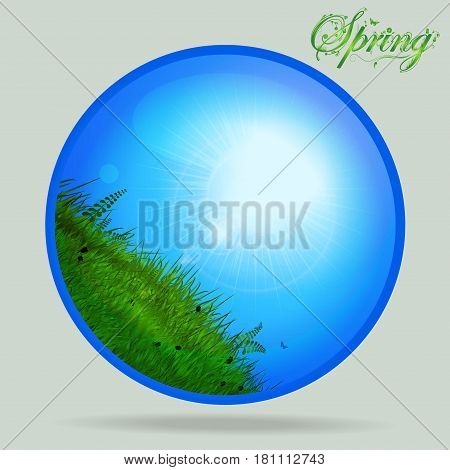 Glossy Glass Sphere with Sunny Sky and Grass with Floral Spring Text