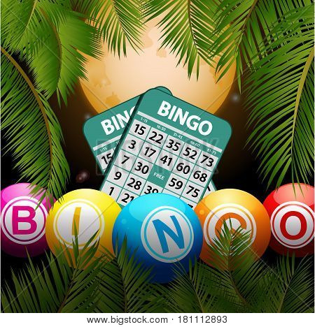 3D Illustration of Bingo Balls and Cards Over Tropical Night Background with Palm Trees and Moon