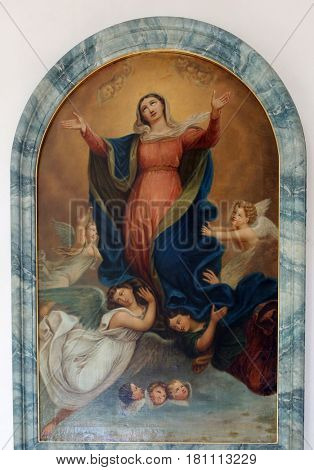 PRIMISWEILER, GERMANY - OCTOBER 20: Assumption of the Virgin Mary, altarpiece in church of St. Clement in Primisweiler, Germany on October 20, 2014.