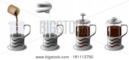 vector illustration instruction how to make coffee in french press, Manual in four steps isolated on white