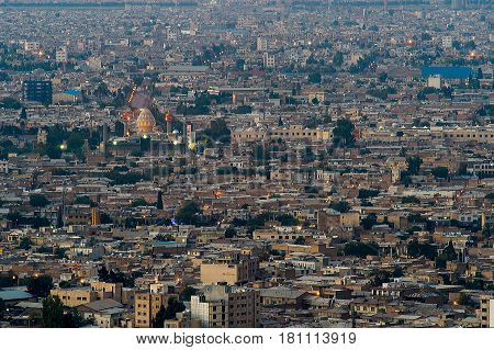 Night view aerial view of Shiraz the capital of Fars Province one of major city of Iran