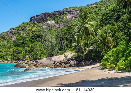 Dream Seascape Coast - Sunny day on fantastic wild Anse Major beach Mahe island Seychelles. Summer holiday concept.