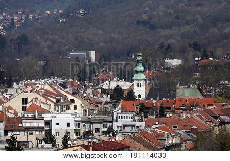 ZAGREB, CROATIA - APRIL10: Church of St. John the Baptist in the street Nova Ves in Zagreb, Croatia on April 10, 2015.