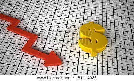 dollar price down concept graph 3d render illustration