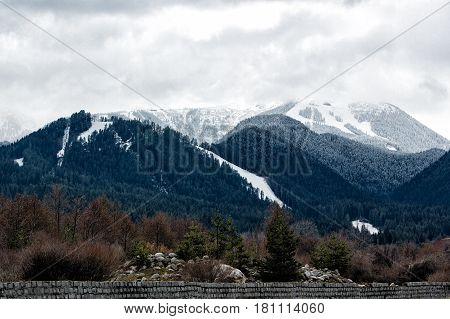 Ski zone on slopes of the mountain Todorka Bansko Bulgaria