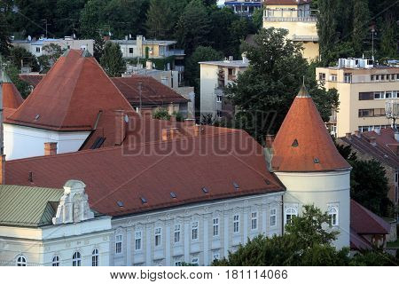 ZAGREB, CROATIA - MAY 31: The facade of the Archbishop's Palace in Zagreb, Croatia on May 31, 2015
