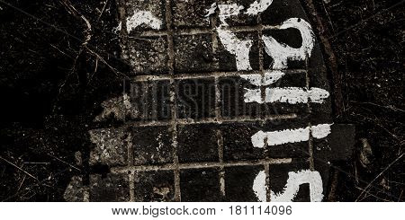 Abstract grunge background, grunge texture. Abstract black and white grunge background. Grunge background. Grunge. Grunge earth. Grunge soil.  Numbers. Manhole.