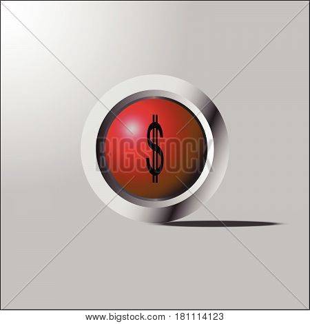 Us Dollar Red Glossy Icon