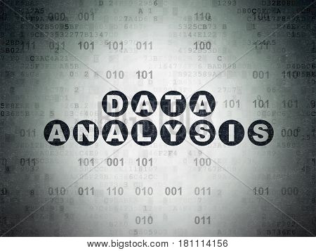 Information concept: Painted black text Data Analysis on Digital Data Paper background with Binary Code
