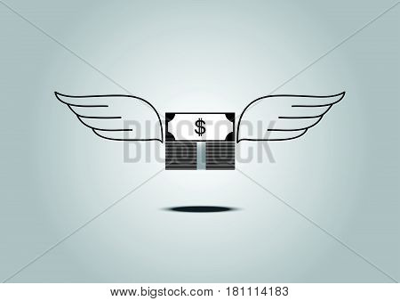 Dollar Money With Wings Flying