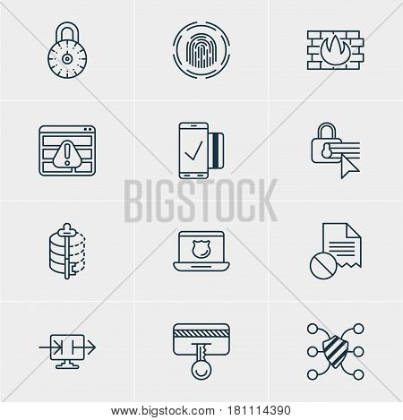 Vector Illustration Of 12 Privacy Icons. Editable Pack Of Safeguard, Confidentiality Options, Encoder And Other Elements.