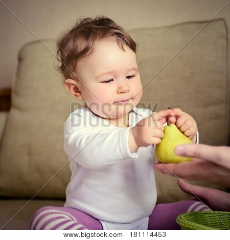 Cute baby girl plays with fruit at home. The one-year child touches a pear given to him.