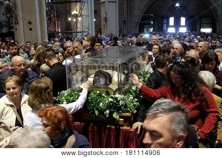 ZAGREB, CROATIA - APRIL 14: Worshippers gather to look at the relics of St. Leopold Mandic in Zagreb cathedral, Zagreb, Croatia on April 14, 2016.