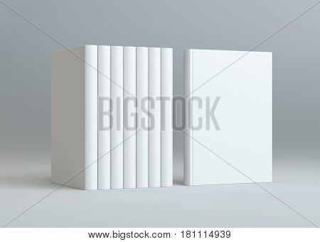 3D rendering books mockup on gray background. Blank hardcover book for design