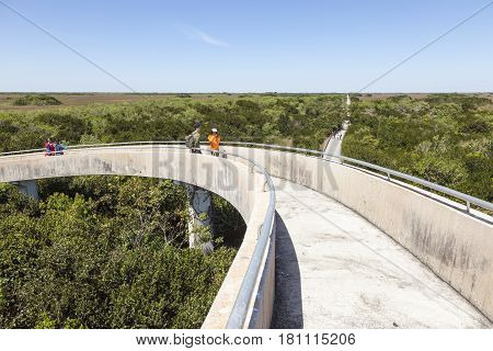 Miami Fl - March 15 2017: View of the Everglades National Park from the Shark Valley Observation Tower. Florida United States