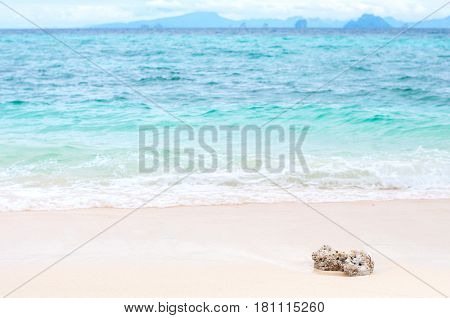 Beautiful seascape with white sand beach and beautiful turquoise sea with the bleached coral in foreground. Summer background.