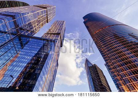 MOSCOW - AUGUST 10, 2016: Low angle view of Moscow-City skyscrapers. Moscow-City (Moscow International Business Center) is a modern commercial district in central Moscow.