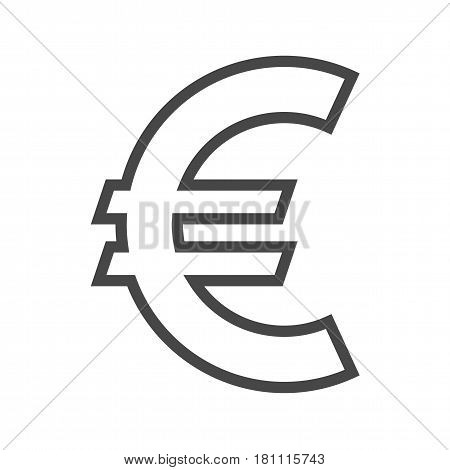 Euro Sign Thin Line Vector Icon. Flat icon isolated on the white background. Editable EPS file. Vector illustration.