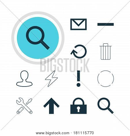 Vector Illustration Of 12 Member Icons. Editable Pack Of Minus, Maintenance, Padlock And Other Elements.