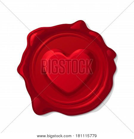 Red wax seal isolated on transparent background. Convex love heart
