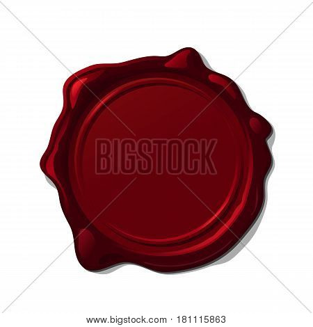 Red wax seal isolated on transparent background.
