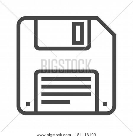 Floppy Disk Thin Line Vector Icon. Flat icon isolated on the white background. Editable EPS file. Vector illustration.