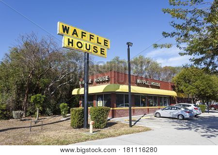 Key Largo Fl USA - March 16 2017: Exterior view of a Waffle House restaurant in Key Largo. Florida United States