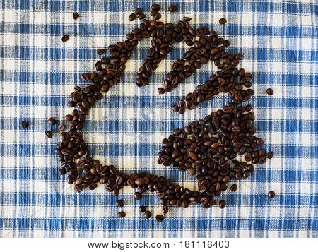 Hand print with coffee beans on blue and white square fabric