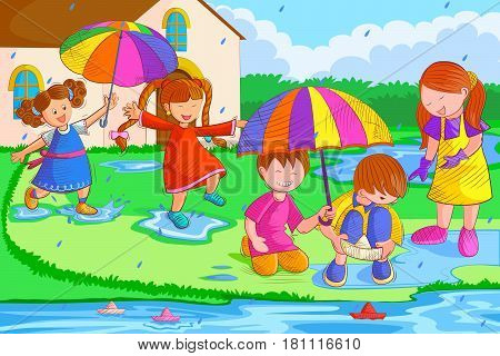 Vector design of kids playing and enjoying in rain