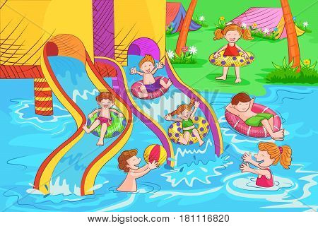 Vector design of kids playing and enjoying at waterpark in summer vacation
