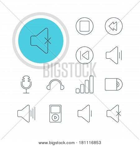 Vector Illustration Of 12 Melody Icons. Editable Pack Of Soundless, Pause, Earphone And Other Elements.