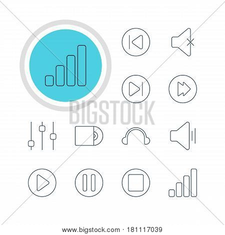 Vector Illustration Of 12 Music Icons. Editable Pack Of Start, Earphone, Preceding And Other Elements.