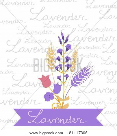 Vector floral simple motive with handwritten Lavander word