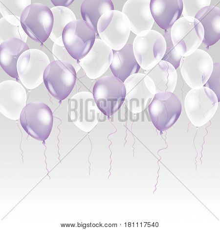 Violet transparent balloon on background. Frosted party balloons for event design. Balloons isolated in the air. Party decorations for birthday, anniversary, celebration. Shine transparent balloon.