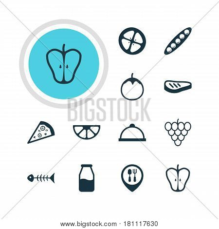Vector Illustration Of 12 Dish Icons. Editable Pack Of Restaurant, Bean, Lime And Other Elements.