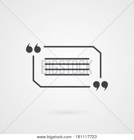 Quotation mark symbol. Rectangle vector icon isolated on grey gradient background
