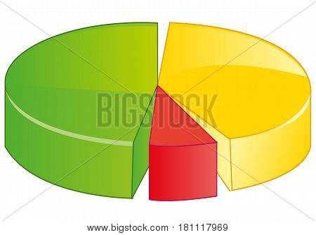 Graph in the manner of circle on white background is insulated