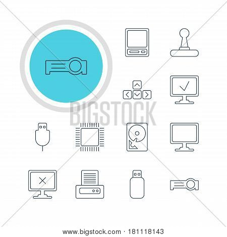 Vector Illustration Of 12 Computer Icons. Editable Pack Of Access Denied, Screen, Presentation And Other Elements.