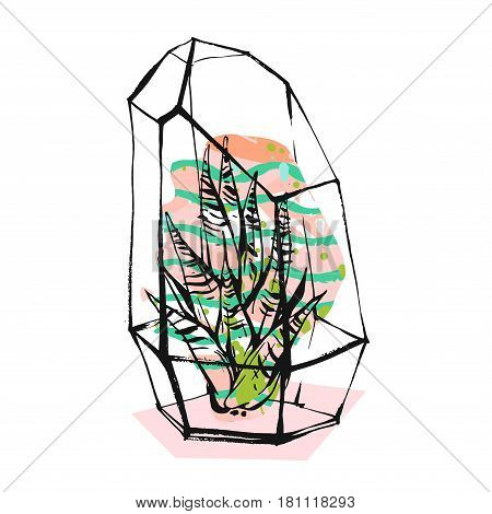 Hand drawn vector abstract illustration with rough terrarium and succulent plants in pastel color isolated on white background.Design for decorationfashionfabricsave the datescandinavian decor