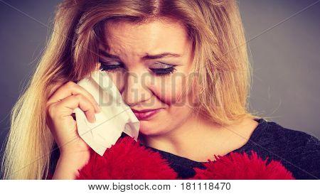 Sad, Depressed Woman Crying Having Depression